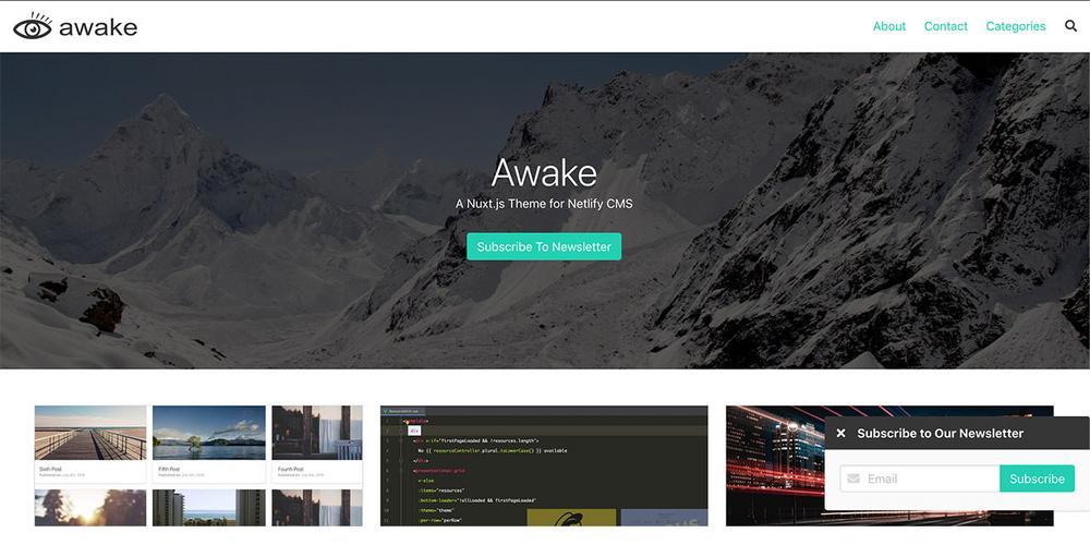 Awake, A Nuxt Blog Template