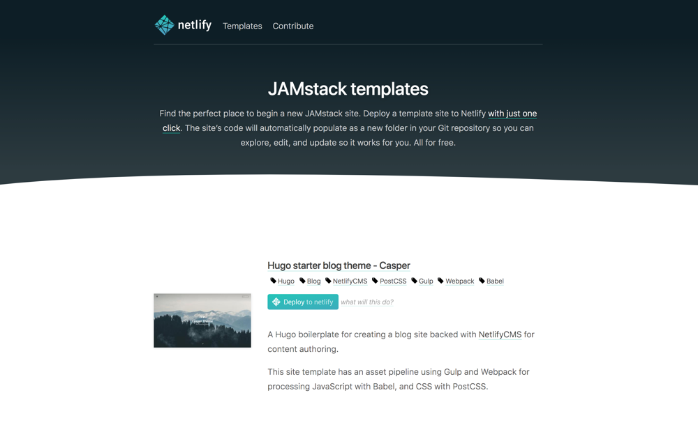 JAMstack project templates