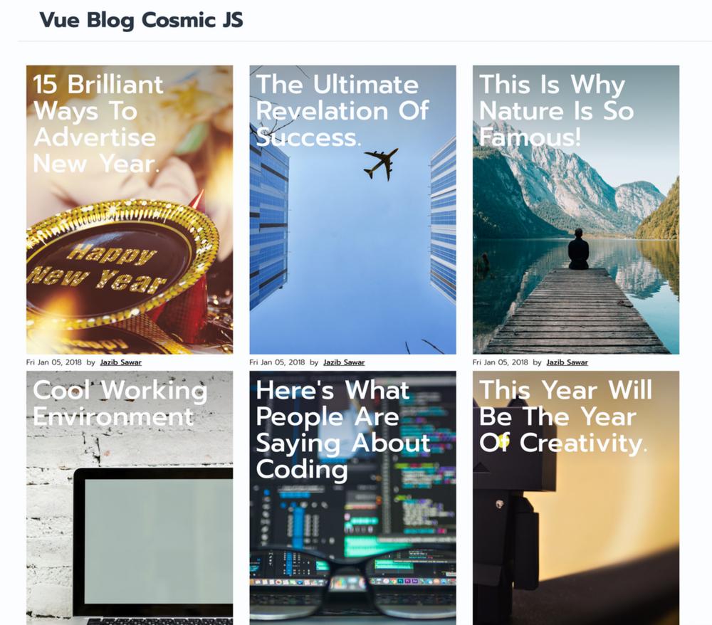 Vue js Blog Powered by Cosmic JS